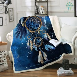 Dreamcatcher Fleece Blanket Blue Galaxy Bedspread Bald Eagle Velvet Plush Beds Blanket Bohemian mantas para cama %tag familyloves.com