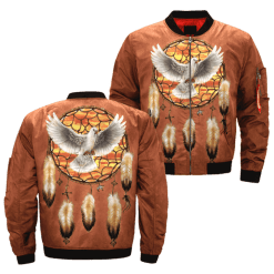 Dreamcatcher native Americans in the United States native over print bomber jacket %tag familyloves.com