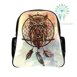 Dreamcatcher Owls PU Leather Custom Backpack School Tavel Daypack Bag Default Title %tag familyloves.com