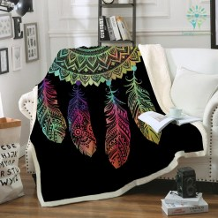 Dreamcatcher Sherpa Fleece Blanket Bohemian Mandala Sherpa Fleece Blanket on the Bed Sofa Colorful Plaid Bedspread %tag familyloves.com
