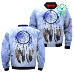 familyloves.com Dreamcatcher Watercolor painting over print bomber jacket %tag