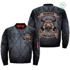 familyloves.com FIREFIGHTER -VOLUNTEER - AMERICAN OVER PRINT BOMBER JACKET %tag