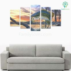 familyloves.com Fishing wall art fly fish 5 Pieces Canvas %tag
