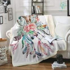 familyloves.com Floral Dreamcatcher Fleece Blanket Hipster Feathers Skull Bedspread Plush Blanket Boho Gothic Floral Bedding 150x200 130x150 %tag