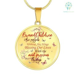 familyloves.com GRANDCHILDREN ARE ANGELS WITHOUT ANY WINGS BLESSING... CIRCLE-LUXURY ADD ENGRAVING NECKLACE & BANGLE Luxury Necklace (Gold) Luxury Necklace (Silver) %tag