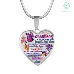 familyloves.com Grandson a precious gift... Heart-Luxury Add Engraving Necklace & Bangle Luxury Necklace (Gold) Luxury Necklace (Silver) %tag