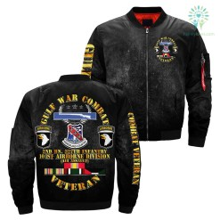 GULF WAR COMBAT 2nd BN, 327th infantry 101st airborne division over print Bomber jacket %tag familyloves.com