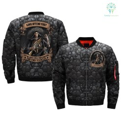 familyloves.com GUN OFFEN YOU LET ME WRITE YOU A PRESCRIPTION FOR TWO TESTICLES over print Bomber jacket %tag