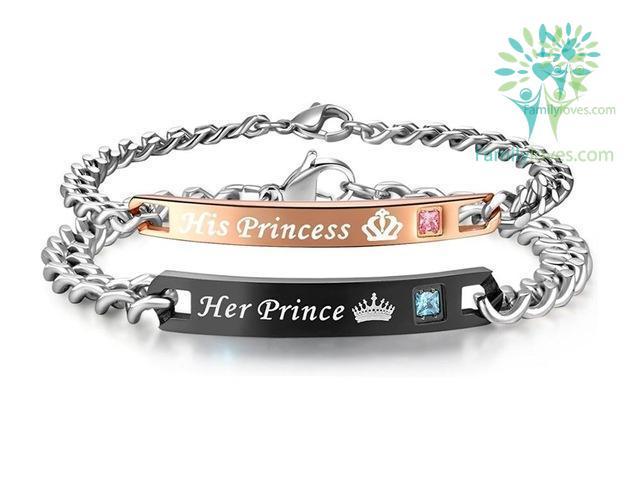 Buy His Princess Her Prince Couple Bracelets - Familyloves hoodies t-shirt jacket mug cheapest free shipping 50% off