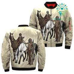 familyloves.com Horse great plains Indians native Americans over print bomber jacket %tag