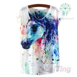 HorseT Shirt Women Clothing Tops Animal Owl Print T-shirt Printed White Woman Clothes Default Title %tag familyloves.com