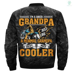 i'm a biker grandpa just like a normal grandpa except much cooler over print Bomber jacket %tag familyloves.com