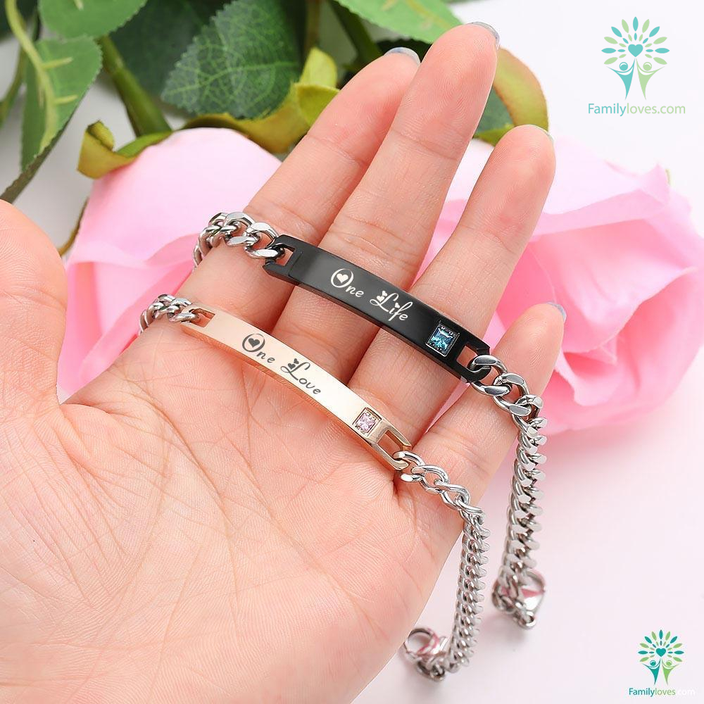 ID Bracelets 2 PIECES FOR MEN AND FOR WOMEN ONE LOVE ONE LIFE Default Title %tag familyloves.com