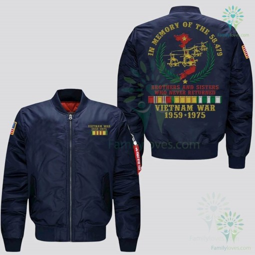 IN MEMORY OF THE 58479 BROTHERS AND SISTERS WHO NEVER RETURNED, VIETNAM WAR 1959-1975 JACKET EMBROIDERED VERSION %tag familyloves.com