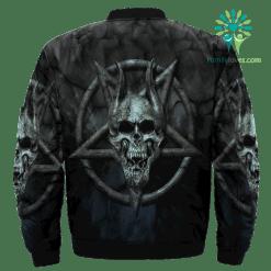 Skull Pentagram Over Print Jacket %tag familyloves.com