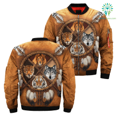 familyloves.com Lion Tiger wolf native dreamcatcher over print bomber jacket %tag