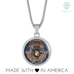 MARINE MOM MY SON IS A MARINE I'M PROUD Luxury Necklace Luxury Necklace w/ adjustable snake-chain %tag familyloves.com