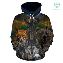 Native American - Bear Wolf Owl Fox 3D All Over Hoodie %tag familyloves.com