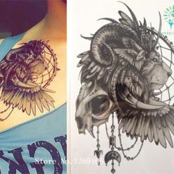 Native American Black LION 21 X 15 CM Sized Sexy Cool Beauty Tattoo %tag familyloves.com