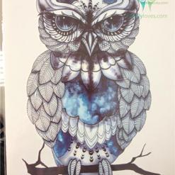 Native American Blue OWL SO COOL 21 X 15 CM Temporary Tattoo Stickers %tag familyloves.com