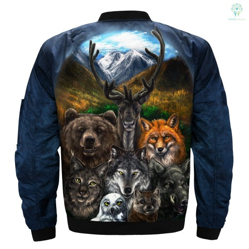 Native American Clothing - Bear Wolf Owl Fox 3D OVER PRINT BOMBER JACKET %tag familyloves.com