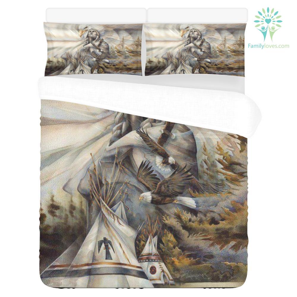 NATIVE AMERICAN EAGLE 3-Piece Bedding Set 1 Duvet Cover 2 Pillowcases %tag familyloves.com