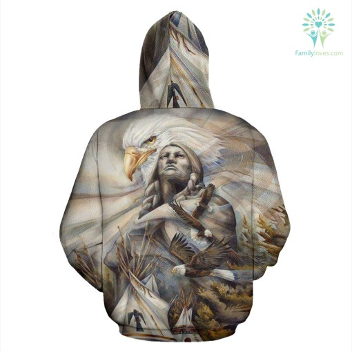 NATIVE AMERICAN EAGLE OVER PRINT HOODIE %tag familyloves.com