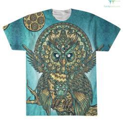 familyloves.com Native American Owl Printed 3D Over Print T-Shirt %tag