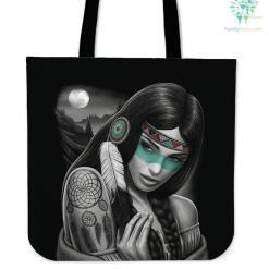 Native American Woman Tote Bags %tag familyloves.com