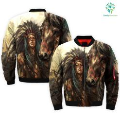 NATIVE GIRL WITH HORSE OVER PRINT BOMBER JACKET %tag familyloves.com