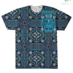 familyloves.com NATIVE MANDALA BLUE OVER PRINT T-SHIRT %tag