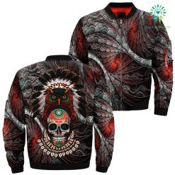 Indian Native Owl Sugar Skull Over Print Bomber Jacket %tag familyloves.com