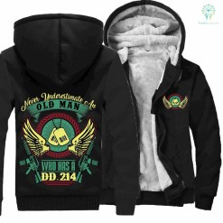 familyloves.com Never Underestimate an Old Man who has a DD 214 Hoodie %tag