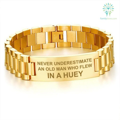 NEVER UNDERESTIMATE AN OLD MAN WHO FLEW IN A HUEY - MEN'S BRACELETS Default Title %tag familyloves.com