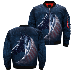 familyloves.com Patriotic Horse over print jacket %tag