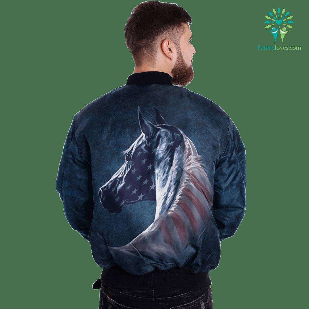 Patriotic Horse over print jacket %tag familyloves.com
