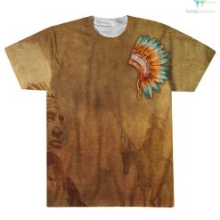 PROUD TO SUPPORT NATIVE AMERICAN INDIANS OVER PRINT T-SHIRT %tag familyloves.com