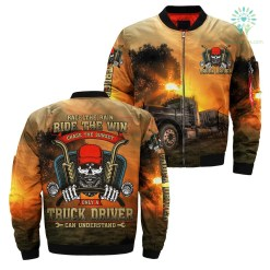 familyloves.com RACE THE RAIN RIDE THE WIND CHASE THE SUNSET ONLY TRUCK DRIVER CAN UNDERSTAND OVER PRINT JACKET %tag