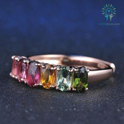 Real Natural 100% 6pcs 1.5ct Oval Multi-color Tourmaline Ring with 18K Rose Gold %tag familyloves.com