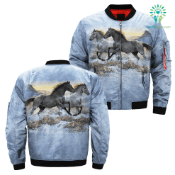 Running Free Horse over print jacket %tag familyloves.com