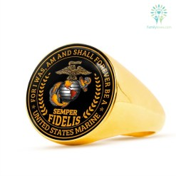 familyloves.com semper fidelis For I was am and shall forever be a united states marine Ring 18K Gold Finish Signet Ring Stainless Steel Signet Ring %tag