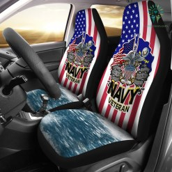 familyloves.com Since 1775 the sea is ours United States Navy veteran Car Seat Covers %tag