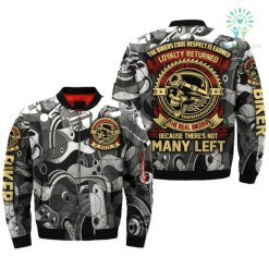 familyloves.com THE BIKERS CODE RESPECT IS EARNED LOYALTY RETURNED OVER PRINT JACKET %tag