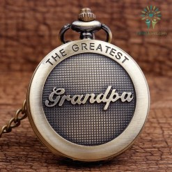 The Greatest Grandpa Bronze Quartz Pocket Watch Pendant Chain %tag familyloves.com
