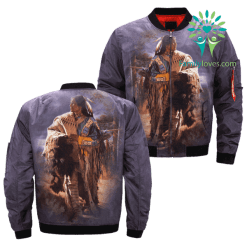 The Life of Native Indian Americans over print bomber jacket %tag familyloves.com