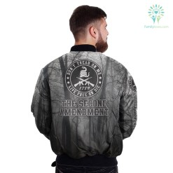 familyloves.com THE SECOND AMENDMENT, DON'T TREAD ON ME, LIVE FREE OR DIE over print Bomber jacket %tag