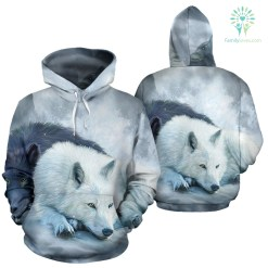 familyloves.com The wolf native American over print hoodie %tag