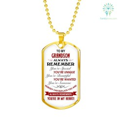 familyloves.com To me grandson always remember you're special... Luxury Add Engraving Dog Tag- Military Ball Chain Military Chain (Gold) Military Chain (Silver) %tag