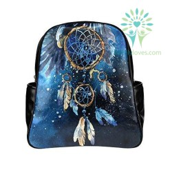 Watercolor Dreamcatcher Eagle PU Leather Custom Backpack Default Title %tag familyloves.com