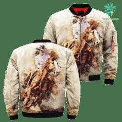 Watercolor horse rider over print jacket %tag familyloves.com